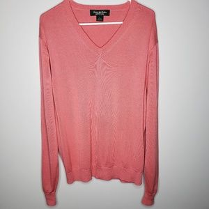 Brooks Brothers Country Club Pink Silk Sweater EUC